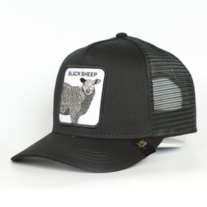 Bonés De Beisebol Custom 5 Panel Blue Cotton Black Sheep Animal Logo Patch Mesh Trucker Hat Cap