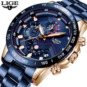 LIGE 2019 New Fashion Mens Watches with Stainless Steel Top Brand Luxury Sports Chronograph Quartz Watch Men Relogio Masculino T200113