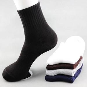 Erkek Katı Renk Çorap Pamuk 10 adet = 5 Pair / Lot Moda Tüp Çorap Kış Erkek Rahat Iş Nefes 1