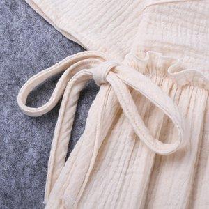 2019 Frühling, Sommer, New Products Mädchen hautfreundliche Baumwollleinen Lace-up kühle Kurzhülse Kleid