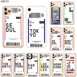 World City Simple travel ticket label Phone Case For iphone 12 11 Pro XS MAX 7 8 6s Plus X XR 5 SE2020 Soft TPU Back Cover coque