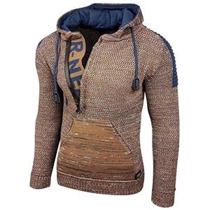 LAAMEI Kazak Erkekler Sonbahar Kış Kapüşonlu Kazaklar Vintage Sıcak Örme Kazak erkek Moda Halat Rahat Slim Örgü Sweater 201118