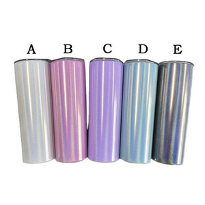 20oz Skinny Tumbler With Straw Stainless Steel Glitter Wine Mugs Rainbow Vacuum Tumbler Insulated Coffee Beer Cups For Travel FY4373