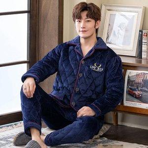 Mimi Kalınlaşma ve Yün Flanel Pijama Adam Kış Pamuk-Yastıklı Ceket Takım Elbise Toptan Erkekler Pamuk Pijama Kışın1