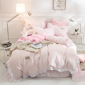 Japanese Brief Pink Grid Ruffles Princess 3 4 pcs Bedding Set Bed Sheet Duvet cover Pillow Cases Washed Cotton King Queen Twin