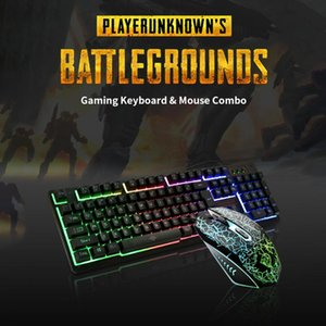 Keyboard and Mouse Combo N-Key Rollover Wired Gaming Mouse Silent Office Keyboard RGB 104Keys Multimedia Function Keys