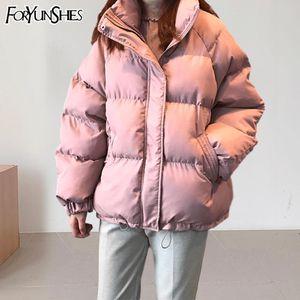 FORYUNSHES 여성 겨울 파카 코트 팜므 느슨한 캐주얼 따뜻한 두꺼운 자켓 핑크 방풍 빵 2020 한국어 스타일 Outercoat 탑