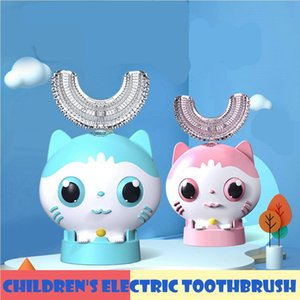 360 درجة كيد فرشاة الأسنان الكهربائية U على شكل تلقائي USB الأسنان الشحن الطفل لطيف الكرتون الفم العناية عن طريق الفم فرشاة تنظيف LJJP652