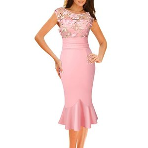 Vfemage Womens Illusion Embroidery Ruched Slim Evening Party Mother of Bride Special Occasion Bodycon Mermaid Pencil Dress 1897