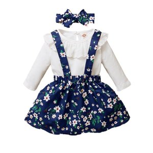 Spring Baby Girl Одежда набор детей с длинным рукавом сплошной цветной ползунки + цветочный принт ремень Юбка + повязка в повседневная 3шт наряды