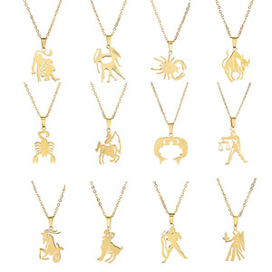 12 Zodiac animals Necklace stainless steel sign animal pendant necklaces for women fashion jewelry will and sandy gift