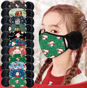 New Ear-warming Christmas Printed Mask for Children in Winter Dust Cold and Odor Protection Warm Mask Winter Thickened Face Mask DB110