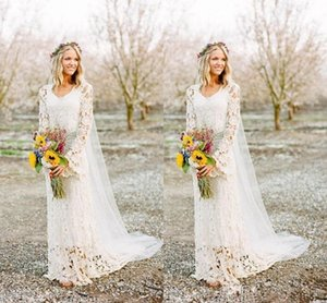 Romantic Boho Wedding Dresses 2021 Long Sleeve Neck A Line Full crochet Lace Country Style boho Bridal Gown Custom Made