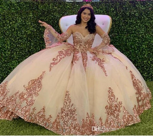 Sparky Sequin Charro Mexican Quinceanera Dresses Ball Gown Sweethart Puffy Tulle Sweet 16 Dress Luxury Beaded Crystal vestidos de 15 años