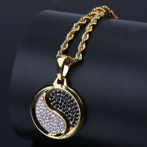 Tai Chi Eight Diagrams Pendant with Yin and Yang Poles Gold-plated Zircon Miniature Hip Hop Necklace for Men and Women