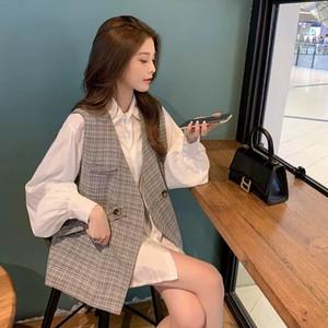 R5IGM Style Automne Femme Vest coréen Vest de rue Chemise Hepburn Western 2020 Vêtements Lumière Champne de style mature Costume Frit Two-Pièce Hypa