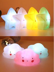 Cute LED Night Light Stars Fruits Dinosaur Silicone Soft Cartoon Baby Children Nursery Lamp Bedroom Decoration Gift Kid Toys