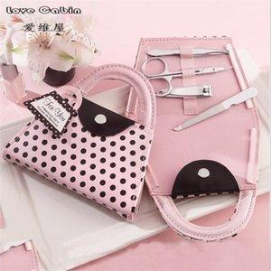 Pink Polka Dot Counre Counre Difts 1027 FALL 64PCS = 16box / Lot Душ Свадебные услуги и благополучие маникюрных наборов Гость для Bridal APQFE