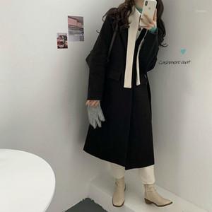 Mujeres Snordic Winter Invierno Larga Cashmere Blazer-Coat Chaqueta Patchwork Lana Abrigo de algodón Cardigan Outerwear1