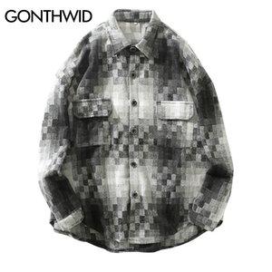 Gonthwid Mosaik Muster Langarm Karierte Hemden Herren Hip Hop Casual Dress Shirts Mantel Harajuku Fashion Streetwear Hemd Tops J1216