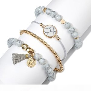 2019 4 Pcs Set Bohemian Charm Bead Bracelets Adjustable Layered Stackable Bracelet Set Tassel Bangle Women Jewelry Party Gift Free DHL M261F