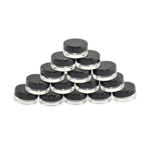 5G 5 ML alta calidad claro vacío Envase Tarro Crisol Con Negro tapas para el polvo de maquillaje, crema, loción, bálsamo de labios / brillo, muestras cosméticas EWB1448