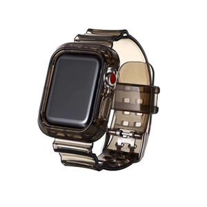 Étui TPU transparent Glitter pour Apple Watch 6 5 4 SE avec Slim Watchand Bande transparente Coque Smart Couvre-bande 44mm