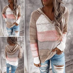Autunno con scollo a V a mosaico con cappuccio maglione casuale delle donne a maniche lunghe maglia maglione a righe Top Inverno Elegante Pullover Ponticelli 201019
