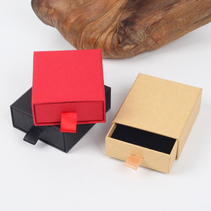 Luxury Elegant 8*7*3cm Drawer Box With Spong For Jewelery Display Earring Necklace Packaging Drawer Box With Ribbon