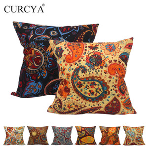 Classic Paisley Pattern Cushion Covers for Sofa Chair Car Waist Pillow Cover Home Decorative Like Linen Polyester flowers Cushion Cases