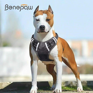 Benepaw Breathable No Pull Large Dog Harness Vest Soft Adjustable Reflective Durable Pet Harness Medium Big Dog Easy Control 1020