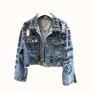 Diamonds rivet Graffiti print cropped denim jacket Punk short jackets holes jeans jacket women chaqueta mujer veste femme 201013