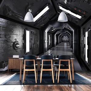 Custom Photo Wallpaper 3D Stereoscopic Tunnel Space Poster Mural Retro Restaurant Cafe KTV Living Room Background Wall Painting