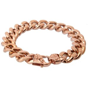 13 15mm Wide High Polished Rose Gold Cuban Curb Link 316L Stainless Steel Bracelet Mens Women Boys Chain Jewelry