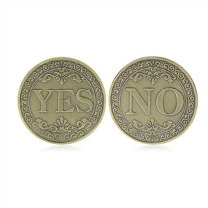 Sí o ninguna moneda conmemorativa Floral Sí No Carta Coin Classic Metal Magic Tricks Toys Creative Magic Props Mostrar herramienta VT1962