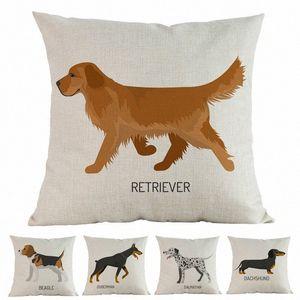Nuevos perros de acuarela Beagle Doberman Dalmatian Labrador Poodle Impreso Cojín Cubierta Casa Decorativa Sofá Coche Caja de almohada P8lq #