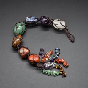 Natural Chakra Crystal Stone Car Pendant 7 Chakra Tumbled Bracelet Tassel Hanging Ornament Stones Car Decor 31.5CM KKF2298