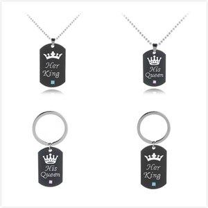 Paslanmaz Çelik Onun Kralı Onun Kraliçe Kolye / Anahtarlık Köpek Etiketi Taç Çift Kolye / Anahtarlık Kolye Zincirleri Severler Takı Hediye