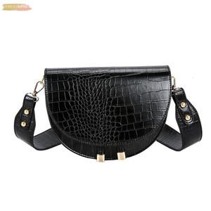 Elegant Crocodile Pattern Crossbody Bag Fashion For Women Half Round Solid Pu Leather Handbag Women Bag Designer Shoulder Bag 38