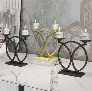 Moderne Art Art Bougeoir Bougeoir mural 3D Porte-bougie Métal Vintage suspendu Tea Tea Lumière Décor Table Chandelier Ewc3533