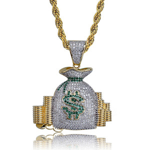 Mens Cool Necklace Gold Plated Ice Out CZ Dollar Purse Pendant Necklace with Rope Chain for Men Women Hiphop Jewelry Gift