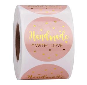 500pcs hechos a mano con amor etiquetas engomadas de papel Kraft Kraft 25mm Rosa Ronda etiquetas autoadhesivas de fiesta de la boda Hornear engomada de la decoración 10 conjuntos