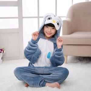 Erkek Kız Çocuk Baykuş Kuş Mavi Pijama Set Flanel Çocuklar Hayvan Karikatür Cosplay Kapşonlu Pijama Infantil Kigurumi Pijama W1222