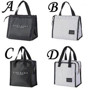 أزياء الرجال الغداء حقيبة حمل حقيبة دائم الأبيض الأسود الغداء المنظم الجليد مربع الحرارية بينتو الحقيبة حامل الحاويات # 451
