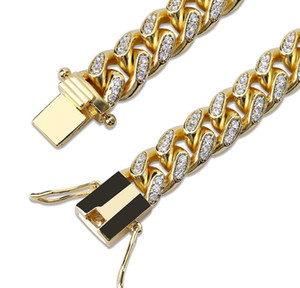 18k Gold White Gold Iced Out Cz Zirconia Miami Cuban Link Chain Bracelet 10 14 18mm Rapper Hip Hop Curb Jewe wmtHnu dayupshop