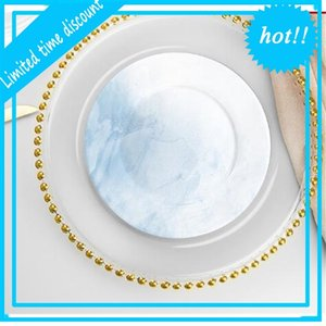 27cm Bead Dishes Glass Plate with Gold  Silver  Clear Beaded Rim Round Dinner Service Tray Wedding Table Decoration GGA3206