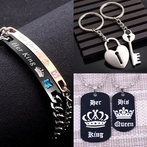 Hot Sale Rose Gold Black Gun Her King His Queen Couple Bracelets for Women Men Gift for Lover Stainless Steel Tag Charm Bracelet