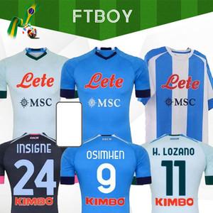 20 21 Napoli MARADONA Soccer Jersey Nápoles Camisa de Fútbol 2020 2021 Koulibaly Camiseta de Fútbol Insigne Milik Maillots H.Lozano Mertens Hombres Niños