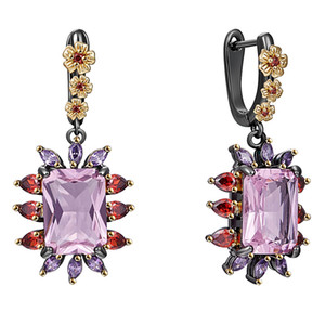 Lt Purple Crystal Dangle Earrings Sweet color Big CZ Jewellery New Arrival Fast shipping 2 tone Jewelry Drop earring