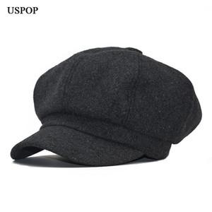 USPOP 2020 Moda mulheres lã chapéu retro lã octogonal Hat Cap Beret octagonal femininos grossas inverno quente chapéus jornaleiro tampas
